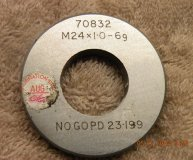 M24 x 1.0 6G Thread ring gauge No-Go gauge PD 23.119mm used
