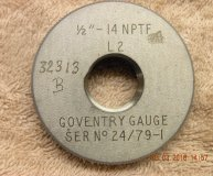 Coventry Gauge 1/2-14 NPTF Thread ring gauge L2 used