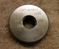 Coventry Gauge 1/4-18 NPTF Thread ring gauge L2 used