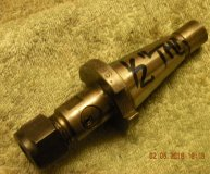 30 International DA200 tapping chuck collet holder 1/2 inch drawbolt thread long neck hexagon nut used