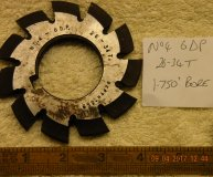 Involute Gear cutter No4 6DP  26-34 teeth 1 3/4 inch bore used