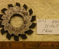 Involute Gear cutter No3 8DP 35-54 teeth 1 inch bore used