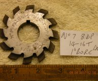 Involute Gear cutter No7 8DP 14-16 teeth 1 inch bore lot #1 used
