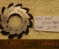 Involute Gear cutter No3 10DP 35-54 teeth 20 degrees PA 1 inch bore used