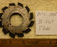Involute Gear cutter No3 10DP 35-54 teeth 1 inch bore used