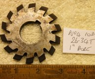 Involute Gear cutter No4 10DP 26-34 teeth 1 inch bore used