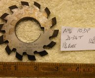 Involute Gear cutter No4 10DP 26-34 teeth 14 1/2 degrees AOP 1 1/4 inch bore used