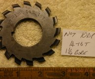 Involute Gear cutter No7 10DP 14-16 teeth 1 1/4 inch bore used