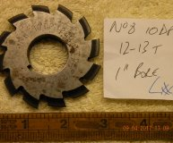Involute Gear cutter No8 10DP 12-13 teeth 1 inch bore lot #1 used