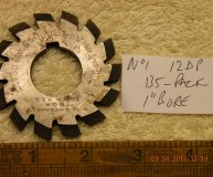 Involute Gear cutter No1 12DP 135 teeth to Rack 1 inch bore used