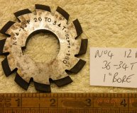 Involute Gear cutter No4 12DP 26-34 teeth 1 inch bore used
