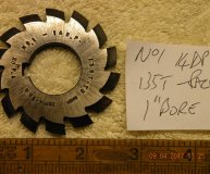 Involute Gear cutter No1 14DP 135 teeth to Rack 1 inch bore used