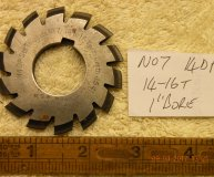 Involute Gear cutter No7 14DP 14-16 teeth 1 inch bore used