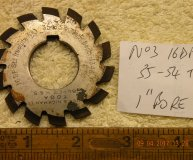 Involute Gear cutter No3 16DP 35-54 teeth 1 inch bore used