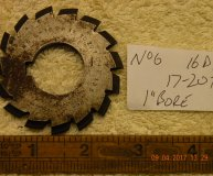 Involute Gear cutter No6 16DP 17-20 teeth 1 inch bore used