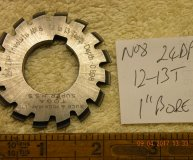 Involute Gear cutter No8 24DP 12-13 teeth 1 inch bore used
