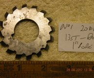 Involute Gear cutter No1 20DP 135 teeth to Rack 1 inch bore used