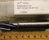 JEL carbide thread mill M16  GWF 16 x 16 x M1.50 SR TiCN coated new