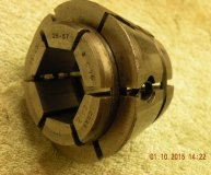 Crawford C76 Multibore collet 1-1 1/8 inch range hexagonal bore used