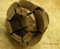 Crawford C77 Multibore collet 1 1/8-1 1/4 inch range hexagonal bore used