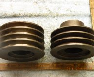 x2 pulley wheels 100mm diameter part tapered bores possibly grinding machine spares