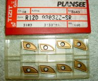 x8 PLANSEE TIZIT CARBIDE INSERTS R12D 0803ZZ-SR GM43 P40C NEW