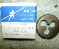 Goliath 9/32 BSF split die HSS 1.310 inch diameter die new